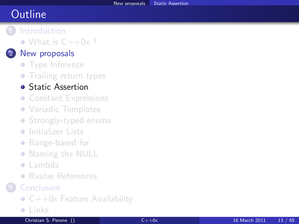 New proposals Static Assertion Outline 1 Introd...