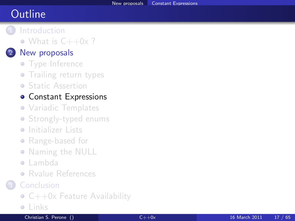 New proposals Constant Expressions Outline 1 In...