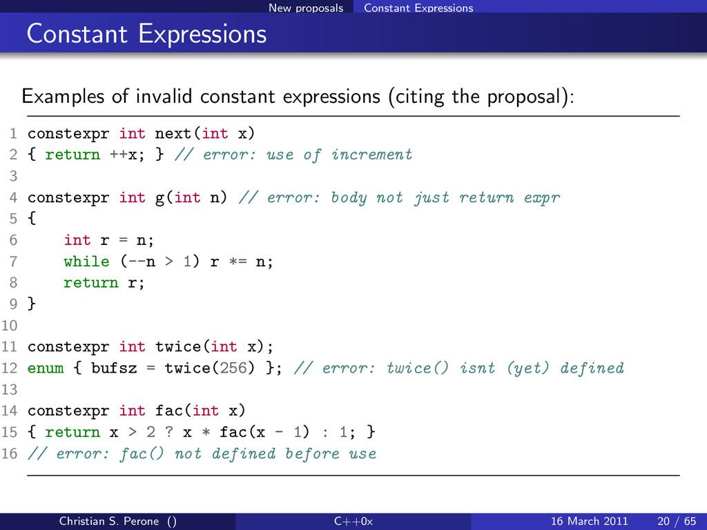 New proposals Constant Expressions Constant Exp...