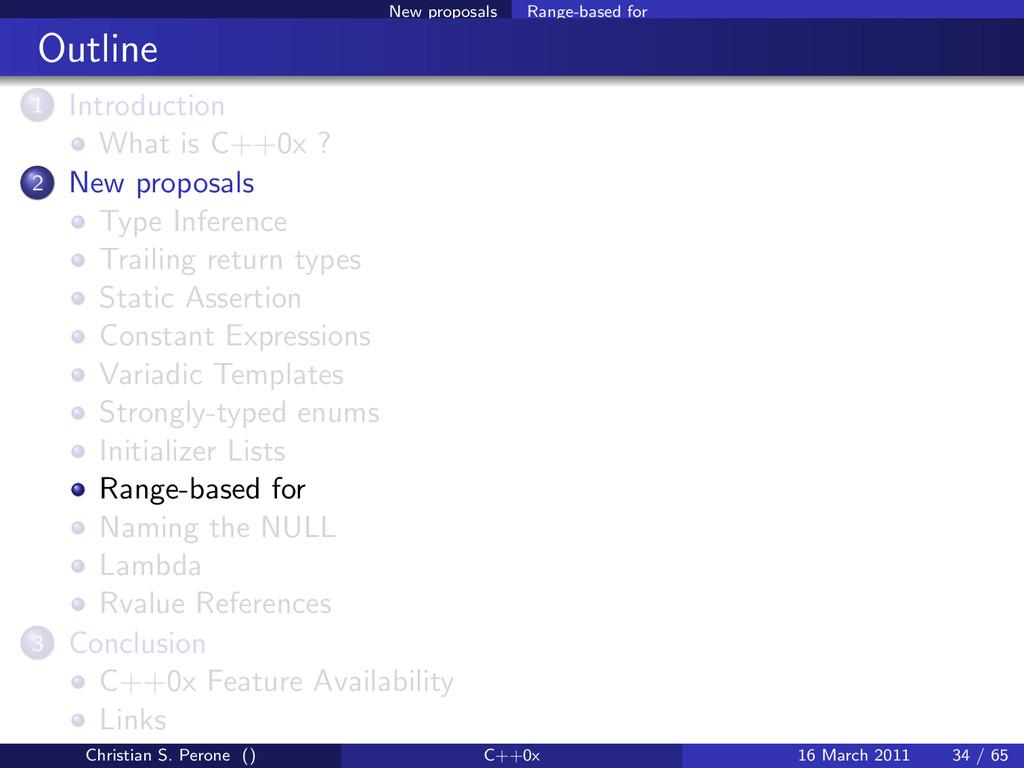 New proposals Range-based for Outline 1 Introdu...