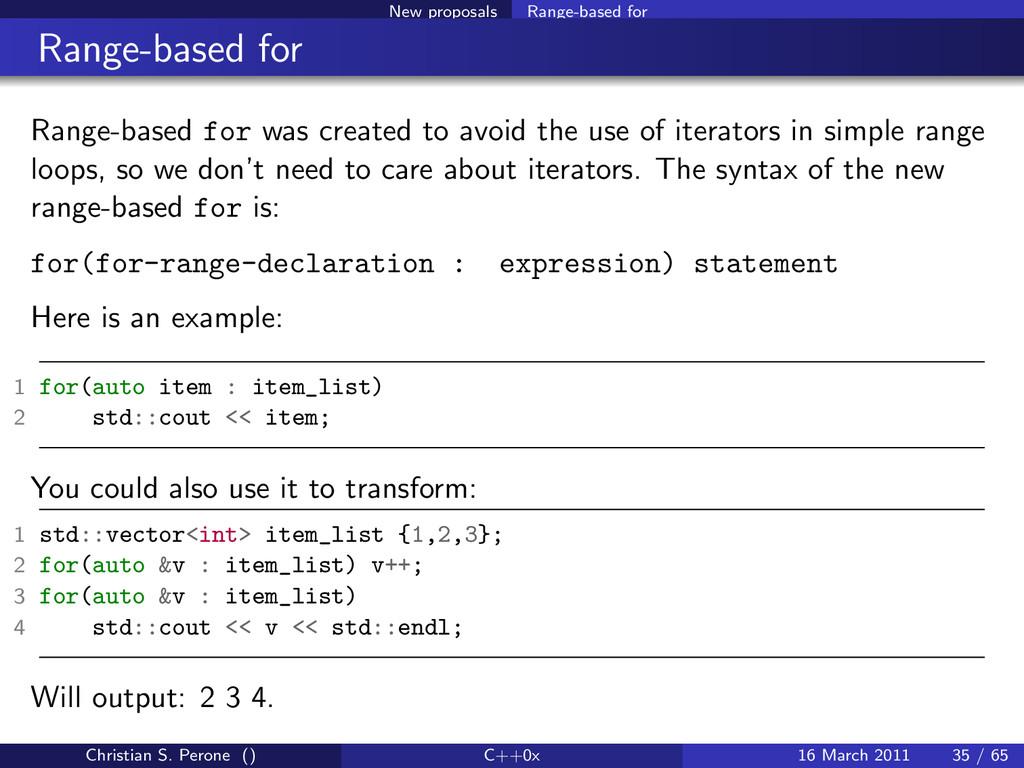 New proposals Range-based for Range-based for R...