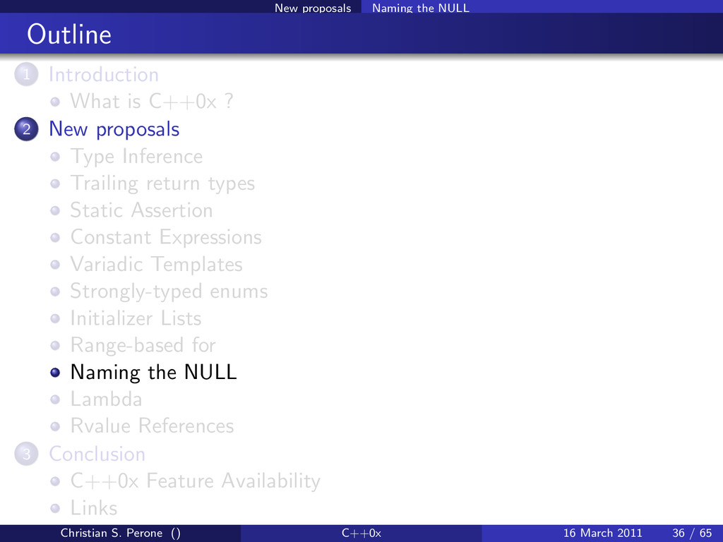 New proposals Naming the NULL Outline 1 Introdu...