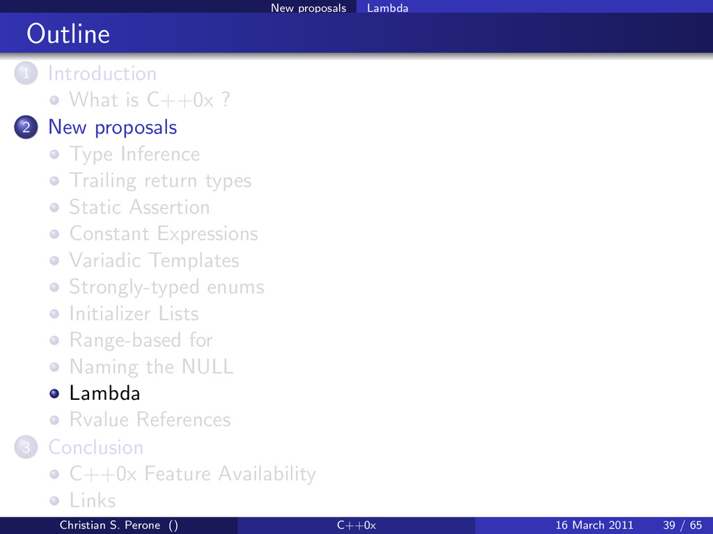 New proposals Lambda Outline 1 Introduction Wha...