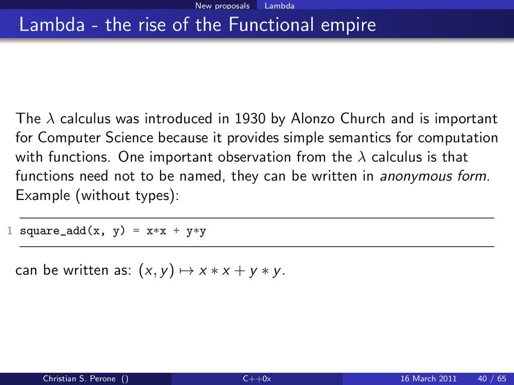 New proposals Lambda Lambda - the rise of the F...