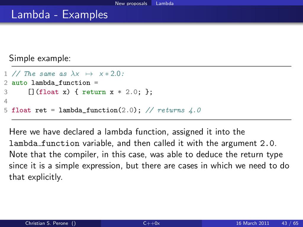 New proposals Lambda Lambda - Examples Simple e...