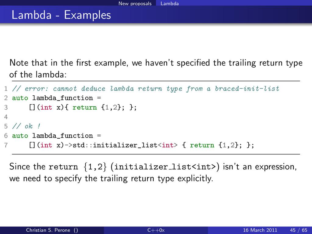 New proposals Lambda Lambda - Examples Note tha...