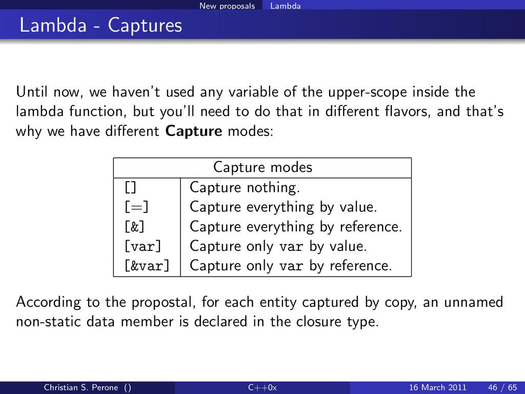 New proposals Lambda Lambda - Captures Until no...