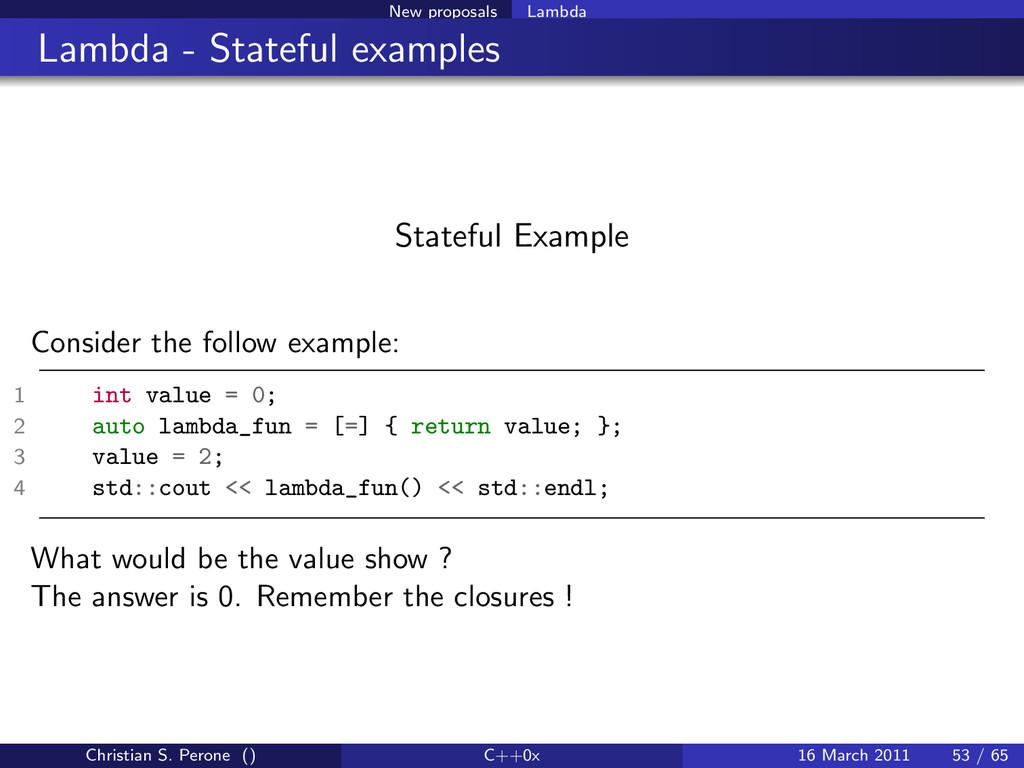 New proposals Lambda Lambda - Stateful examples...