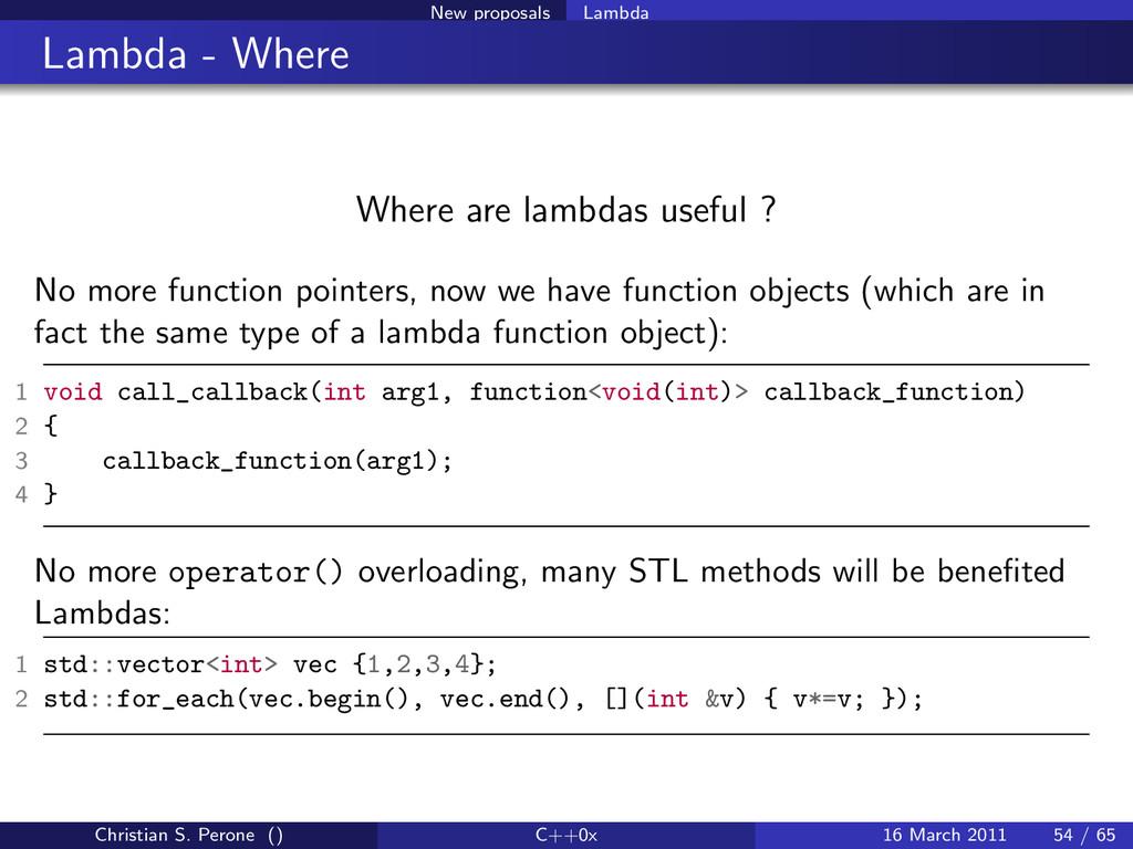 New proposals Lambda Lambda - Where Where are l...