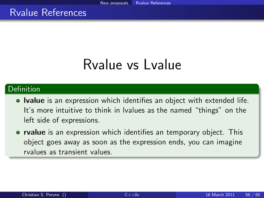 New proposals Rvalue References Rvalue Referenc...