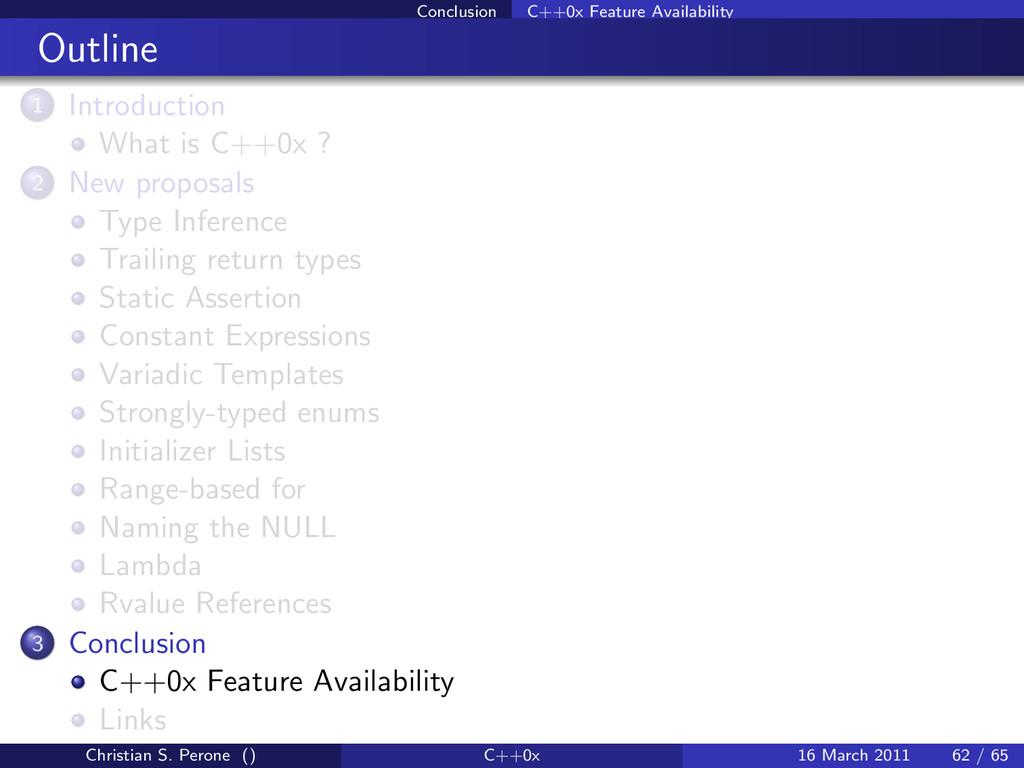Conclusion C++0x Feature Availability Outline 1...