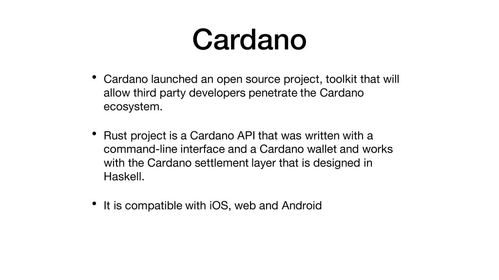 Cardano • Cardano launched an open source proje...