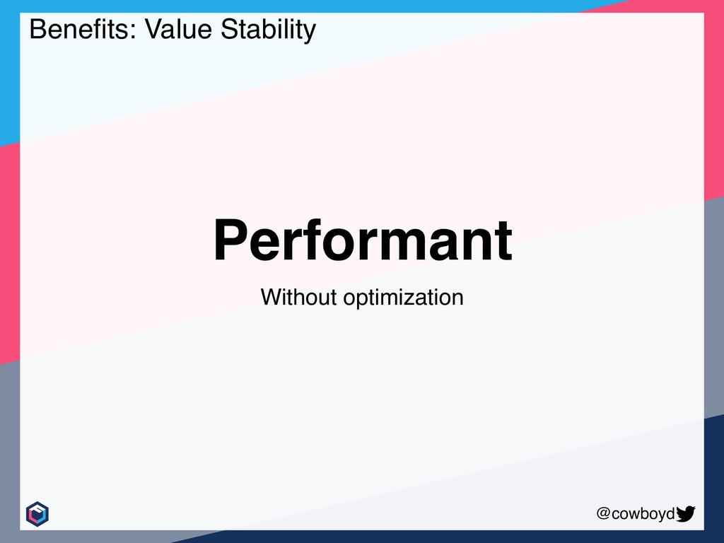 @cowboyd Performant Without optimization Benefit...