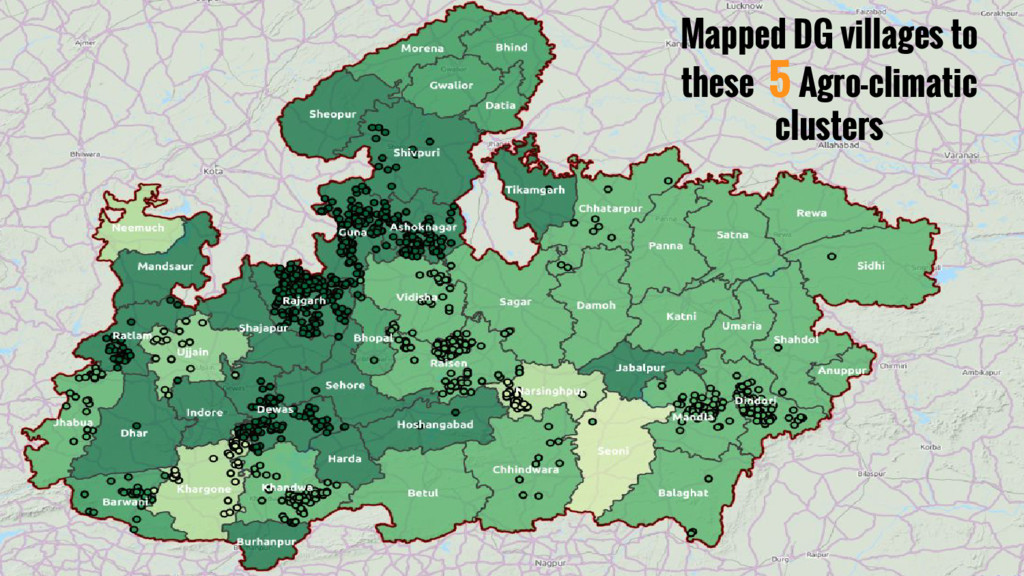 Mapped DG villages to these 5 Agro-climatic clu...