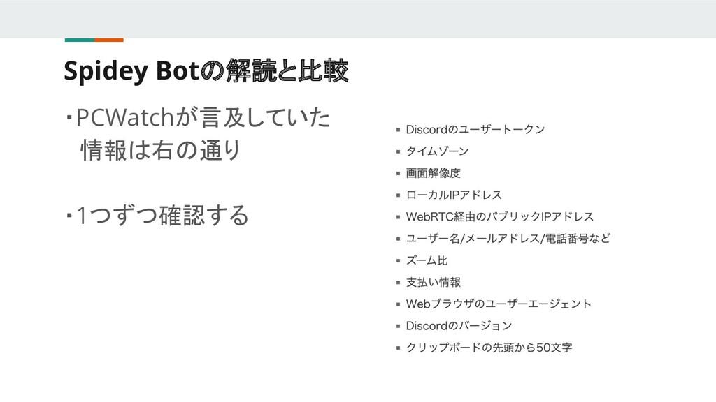 Spidey Botの解読と比較 ・PCWatchが言及していた  情報は右の通り ・1つずつ...