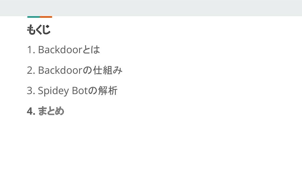 もくじ 1. Backdoorとは 2. Backdoorの仕組み 3. Spidey Bot...