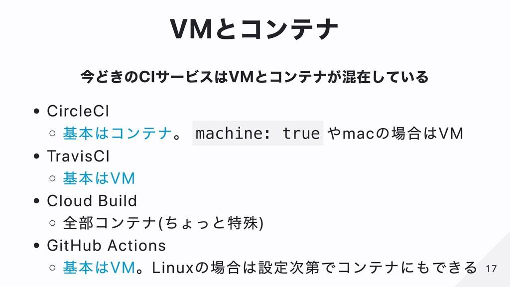 VMとコンテナ 今どきのCIサービスはVMとコンテナが混在している CircleCI 基本はコ...