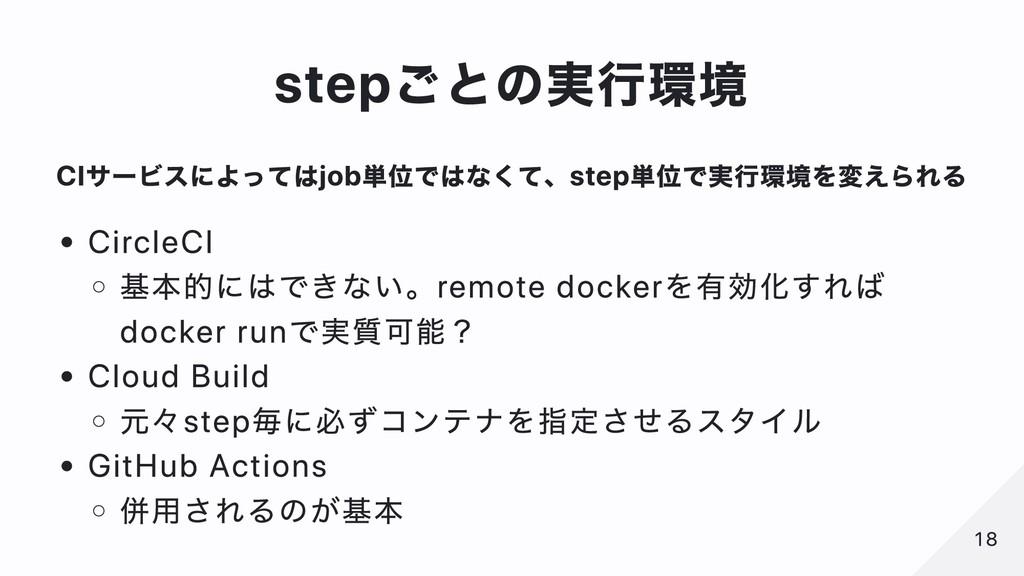 stepごとの実⾏環境 CIサービスによってはjob単位ではなくて、step単位で実⾏環境を変...