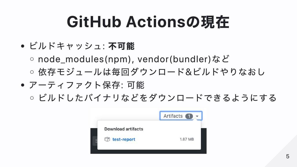 GitHub Actionsの現在 ビルドキャッシュ: 不可能 node_modules(np...