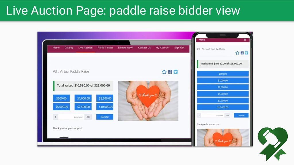 Live Auction Page: paddle raise bidder view
