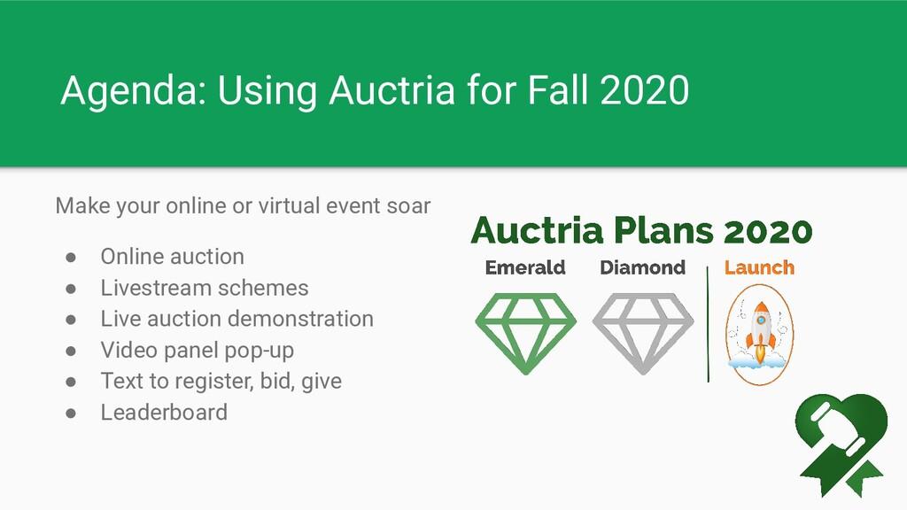 Agenda: Using Auctria for Fall 2020 Make your o...