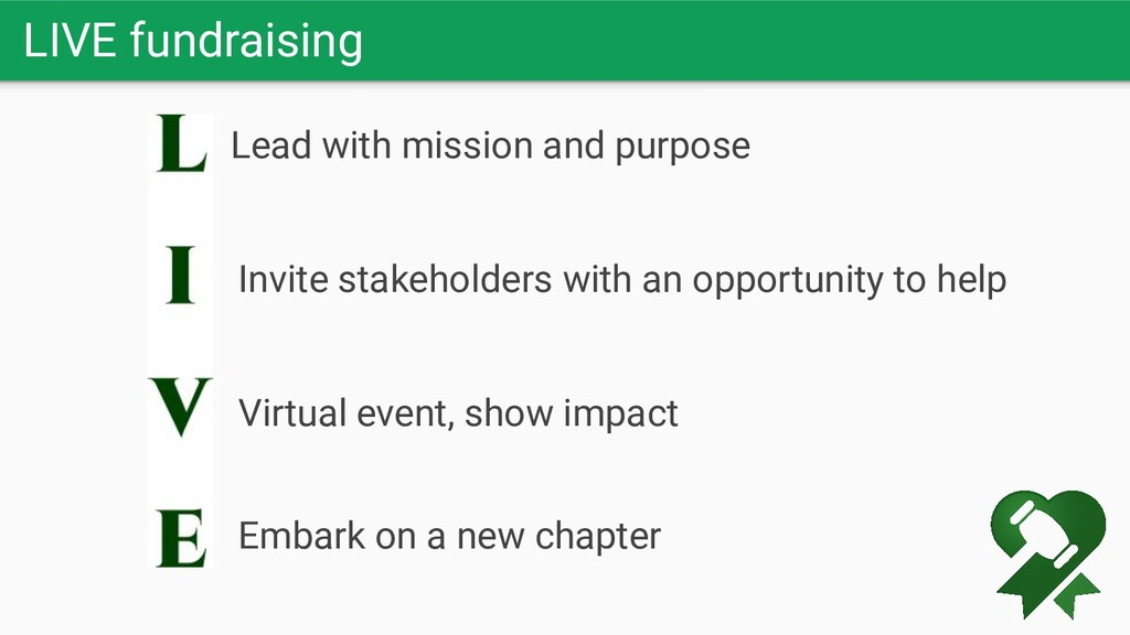 LIVE fundraising Lead with mission and purpose ...