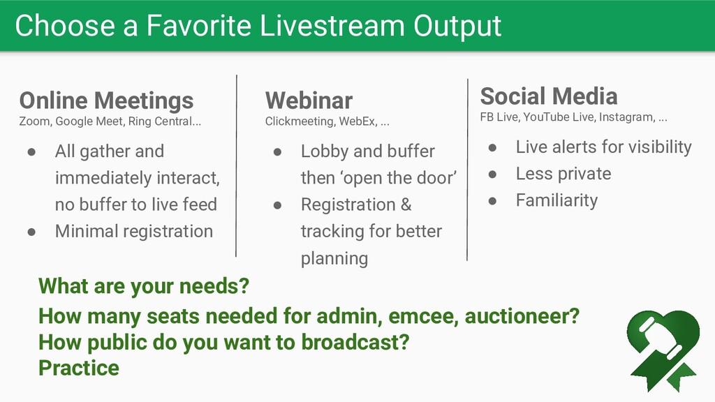 Choose a Favorite Livestream Output Online Meet...
