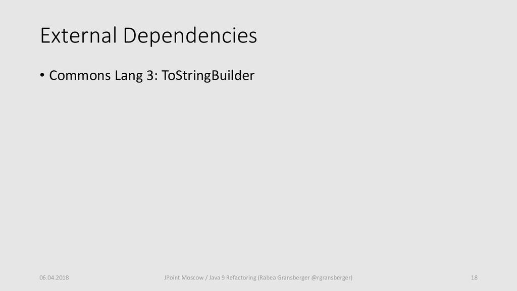 External Dependencies • Commons Lang 3: ToStrin...