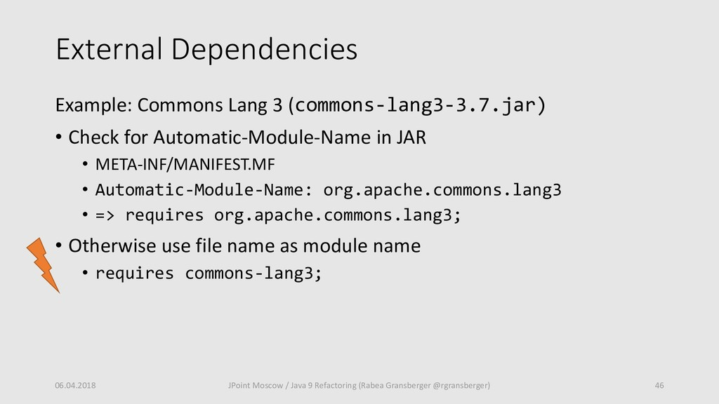External Dependencies Example: Commons Lang 3 (...
