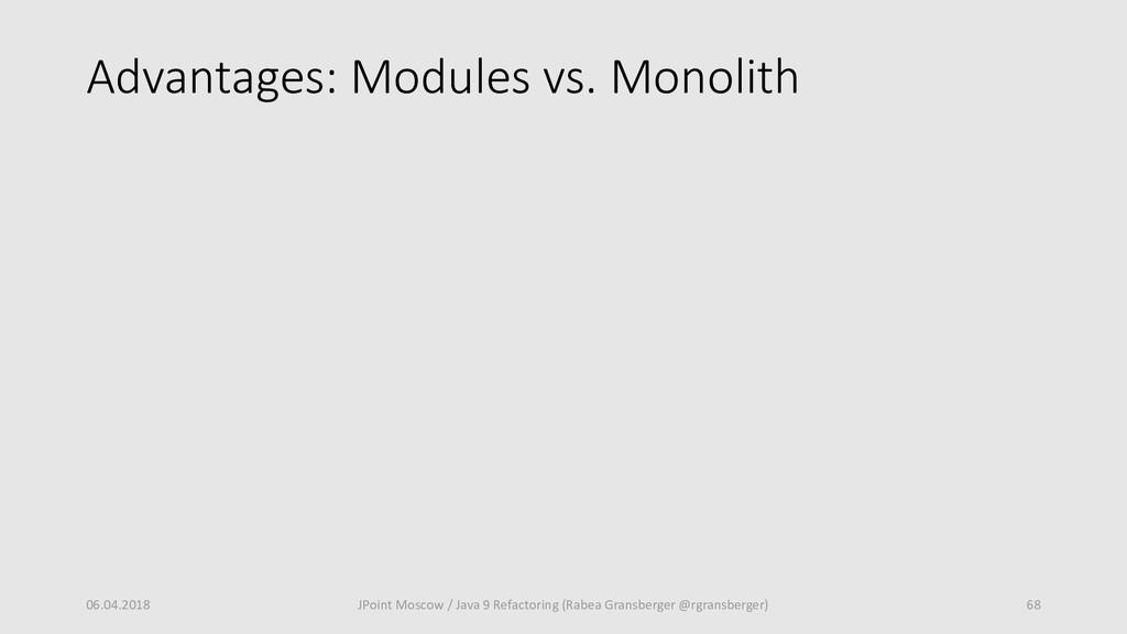 Advantages: Modules vs. Monolith 06.04.2018 68 ...