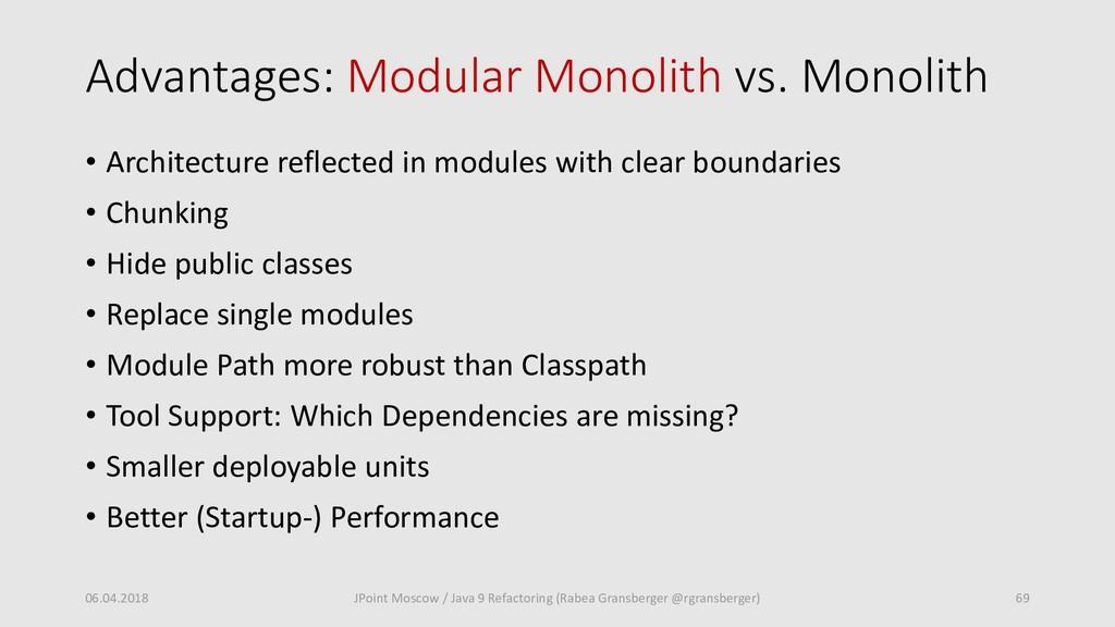 Advantages: Modular Monolith vs. Monolith • Arc...