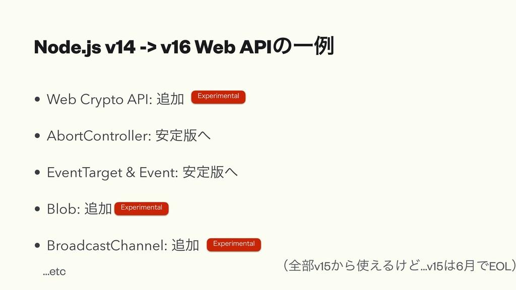 Node.js v14 -> v16 Web APIͷҰྫ • Web Crypto API:...