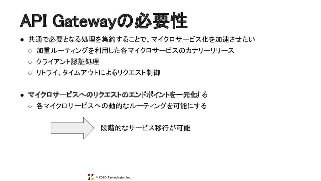 © ZOZO Technologies, Inc. API Gatewayの必要性 ● 共通...