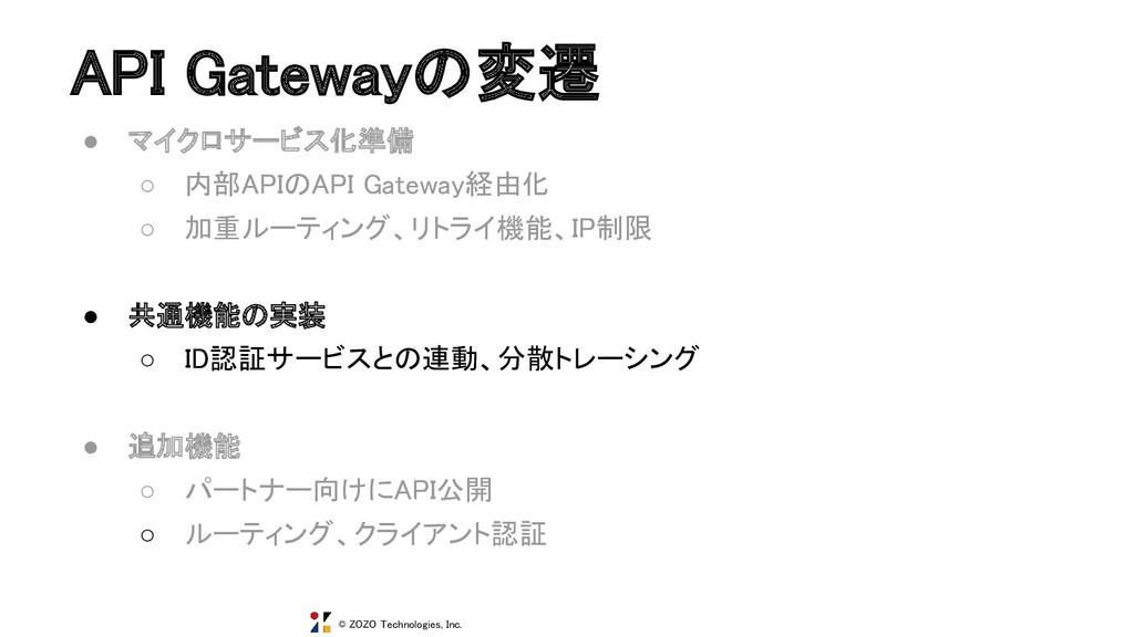 © ZOZO Technologies, Inc. API Gatewayの変遷 ● マイク...