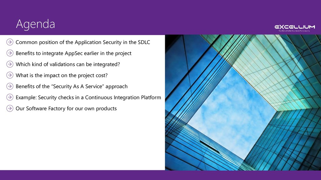 Agenda Common position of the Application Secur...