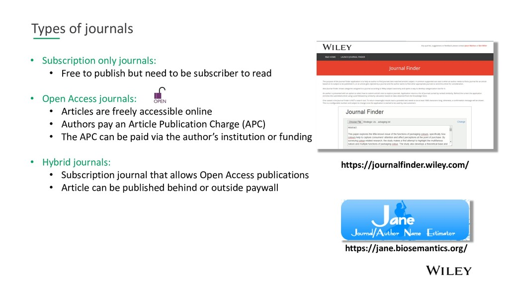 Types of journals • Subscription only journals:...
