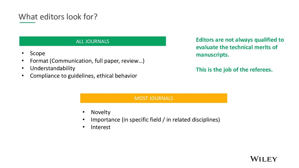 What editors look for? MOST JOURNALS • Novelty ...