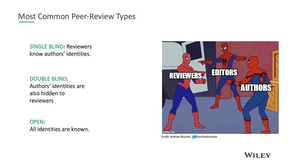 Most Common Peer-Review Types SINGLE BLIND: Rev...
