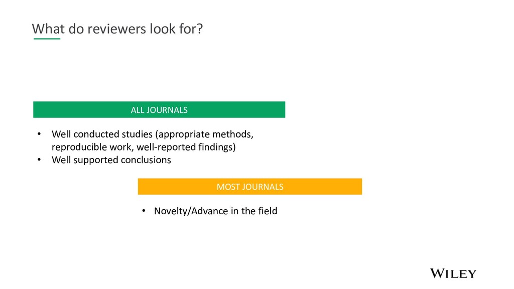 What do reviewers look for? MOST JOURNALS • Nov...