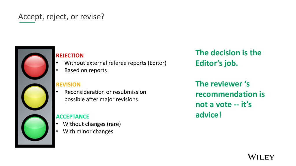 Accept, reject, or revise? REJECTION • Without ...