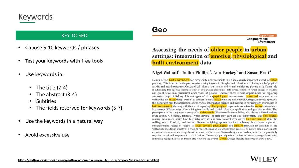 Keywords • Choose 5-10 keywords / phrases • Tes...