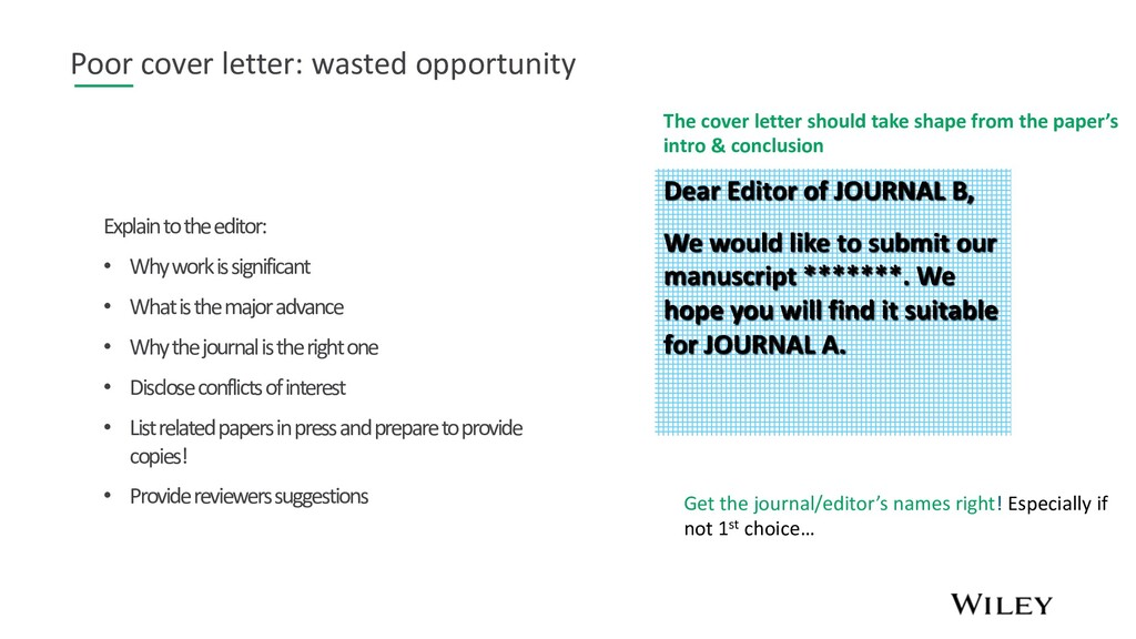 Poor cover letter: wasted opportunity Explain t...