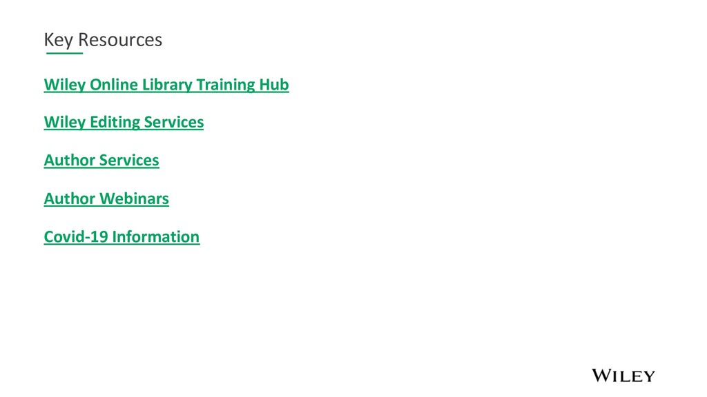 Key Resources Wiley Online Library Training Hub...