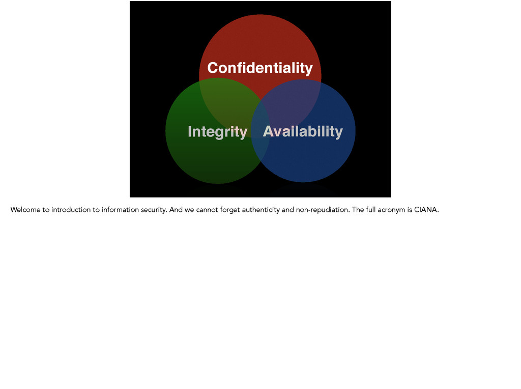 Confidentiality! Integrity Availability Welcome ...