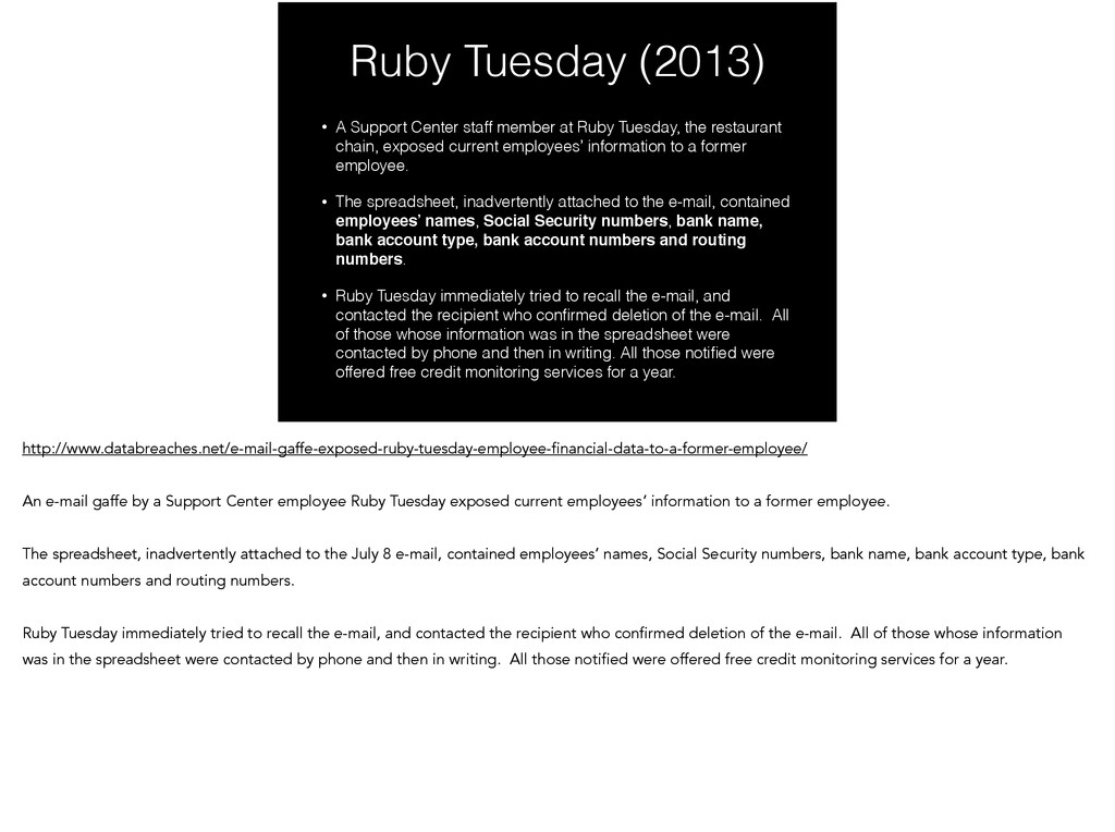 Ruby Tuesday (2013) • A Support Center staff me...