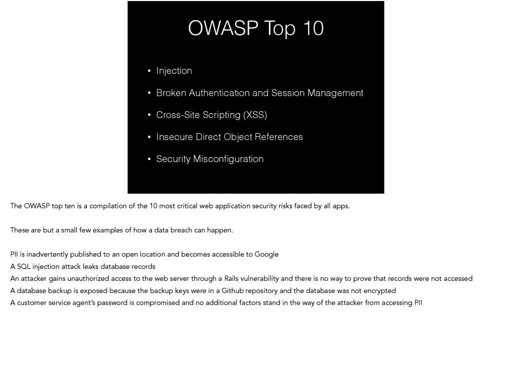 OWASP Top 10 • Injection • Broken Authenticatio...