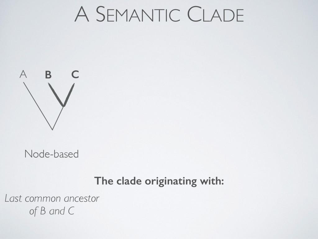 A SEMANTIC CLADE Node-based A B C Last common a...