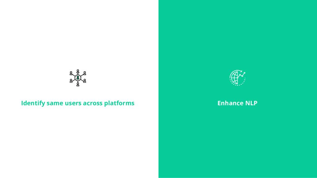 Identify same users across platforms Enhance NLP