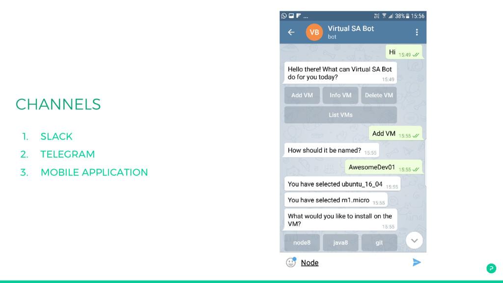 1. SLACK 2. TELEGRAM 3. MOBILE APPLICATION
