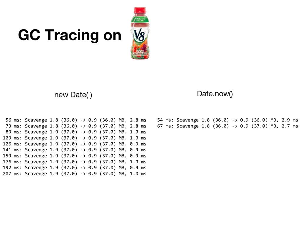 GC Tracing on 56 ms: Scavenge 1.8 (36.0) -> 0.9...
